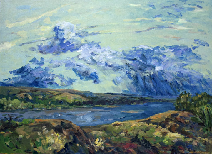 """Louise Cook, """"Light Breaking Through"""", LC414 2003, Oil on canvas, 26 x 34 1/2"""""""