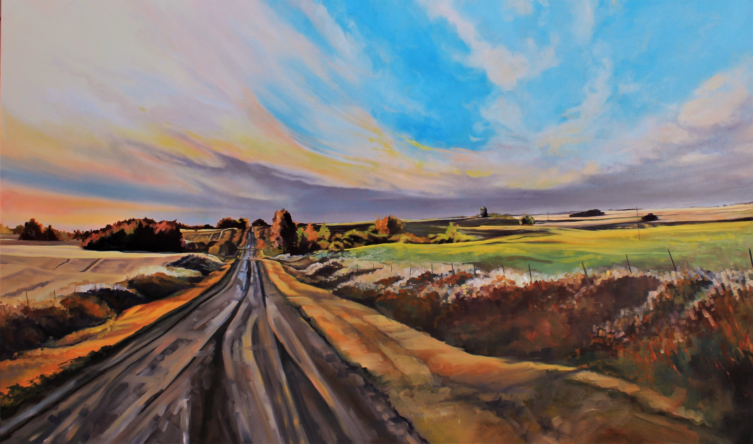 "Michaela Hoppe. ""Volunteer Canola"", 36 x 60, Oil on Canvas"