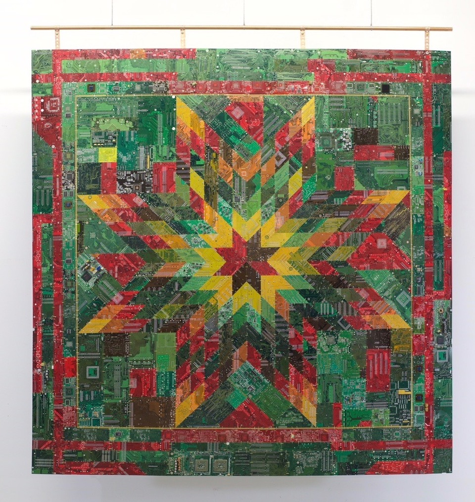 """Wally Dion,  Starquilt,  circuit board, wire, 2017, 68 1/4 x 63 1/2 """""""