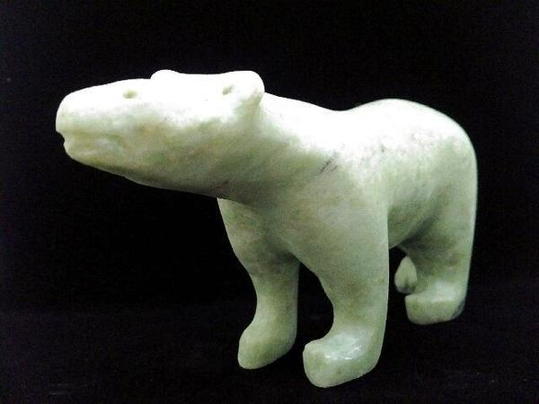 "Mark Totan, ""Bear"", soapstone, 9 1/2"" x 2"" x 4"""