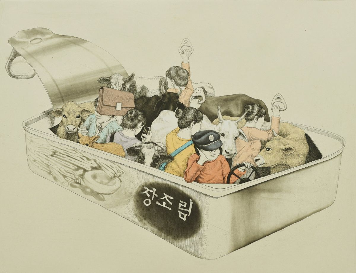 """Bus"" by Sohee Kim, ink on paper, etching and chine-colle, 38x50"""