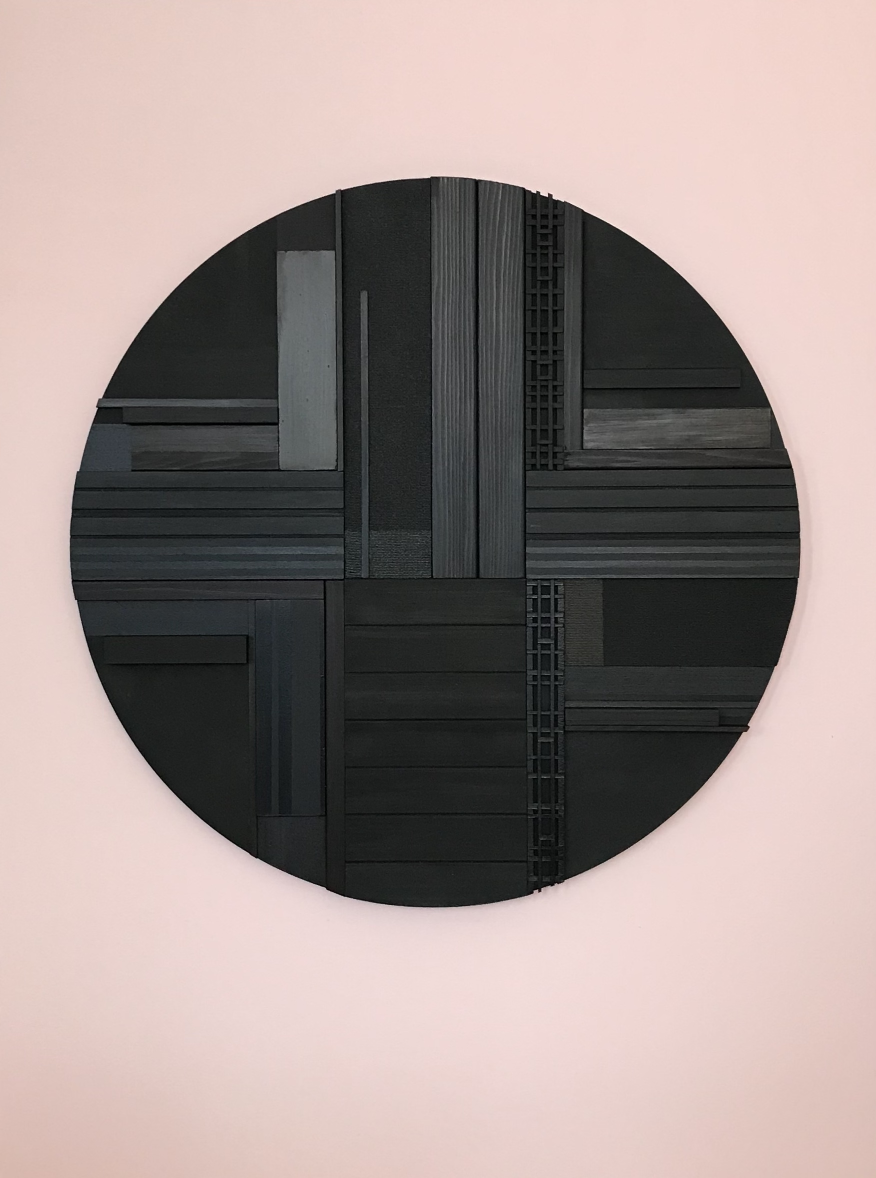 "Cameron McKay, ""Hunk"", CMK014, 2019, Acrylic,charred cedar,mdf on canvas, 40"" x 30"", $1,540.00 Unframed (+ taxes)"