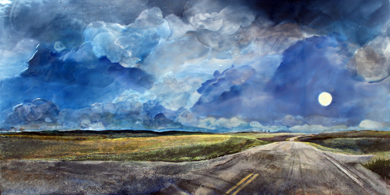 "Heather Cline, ""Day 6 , H 11pm Road Trip"", 2018, Acrylic on panel, 24"" x 48"", $2,375.00 Unframed (+ taxes)"