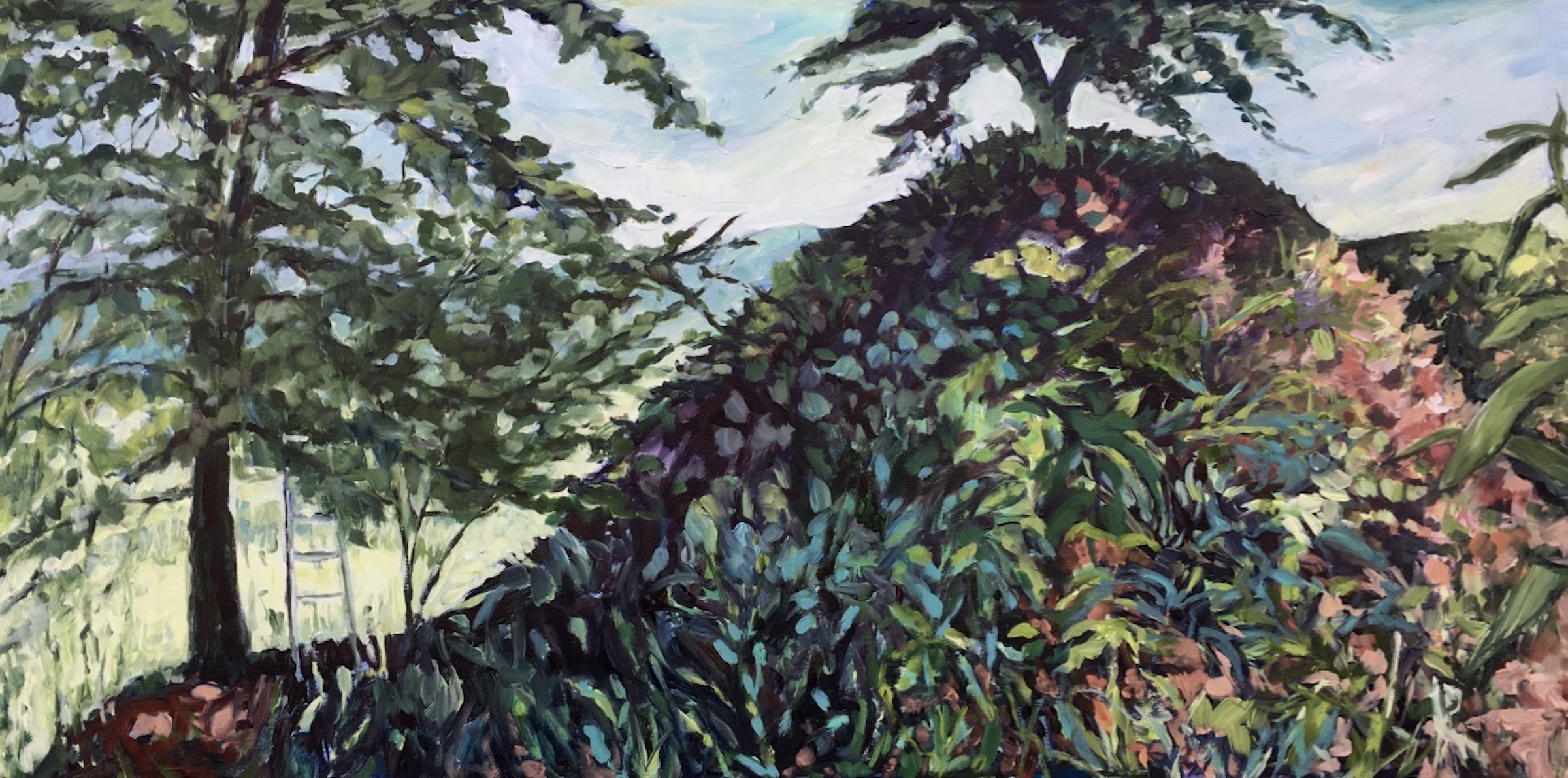 "Edie Marshall, ""Day 6, The Hillside "", 2018, oil on panel, 24"" x 48"", $2015.00 Unframed (+ taxes)"