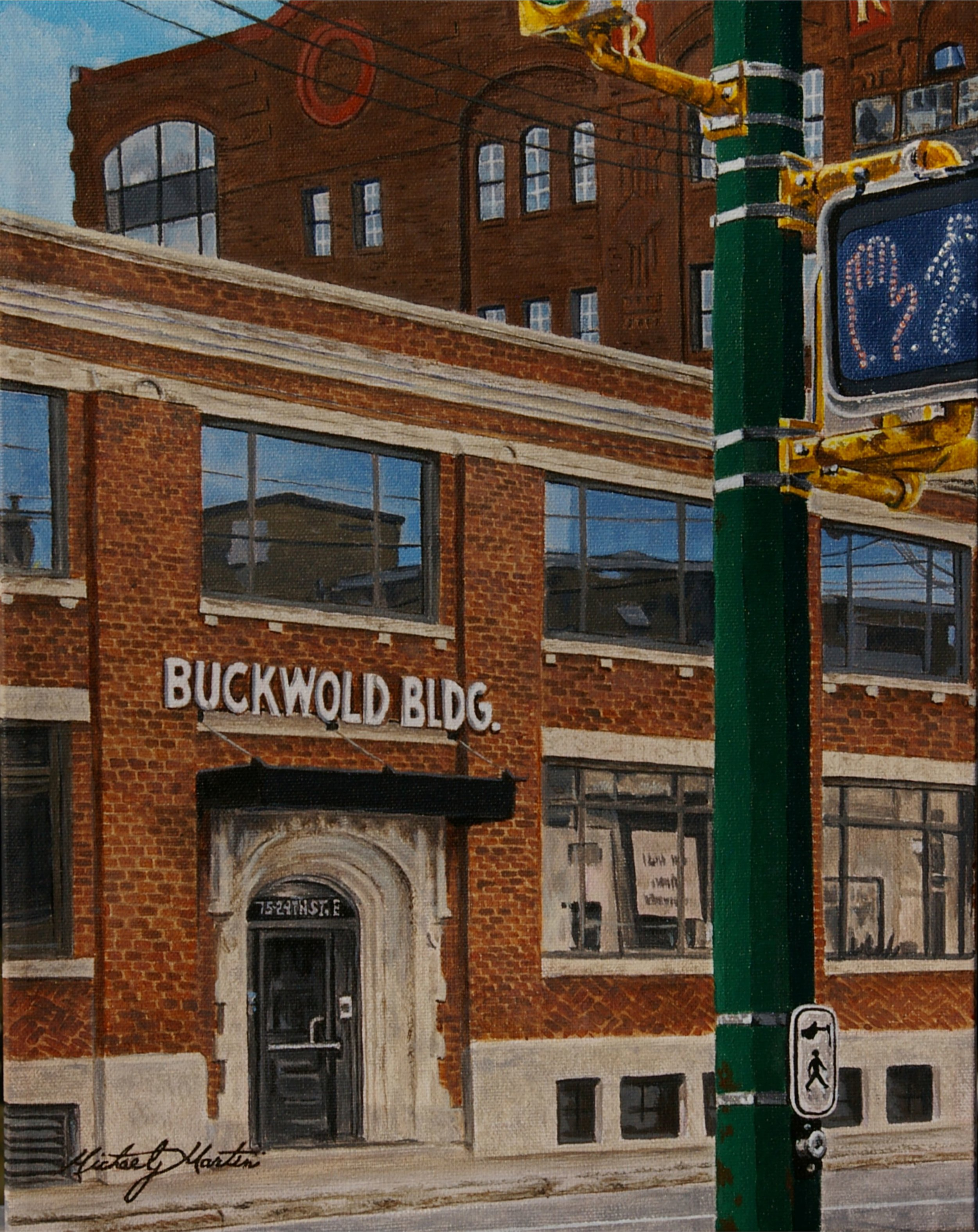 "Michael J. Martin, ""Buckwold Building (Saskatoon Sk. Canada)"", 11 x 14, acrylic on canvas, $400.00"