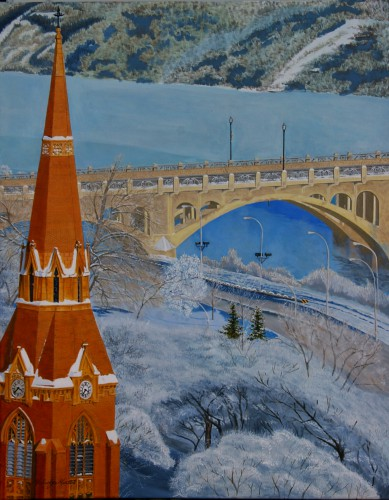 "Michael J Martin, ""St Johns Anglican Cathedral - Saskatoon"", by 31.375x39.375, acrylic on canvas, $1,000.00"