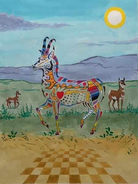 Prairie Harlequin by Ray Keighley, 12x16 acrylic on paper, $1050.00, Framed