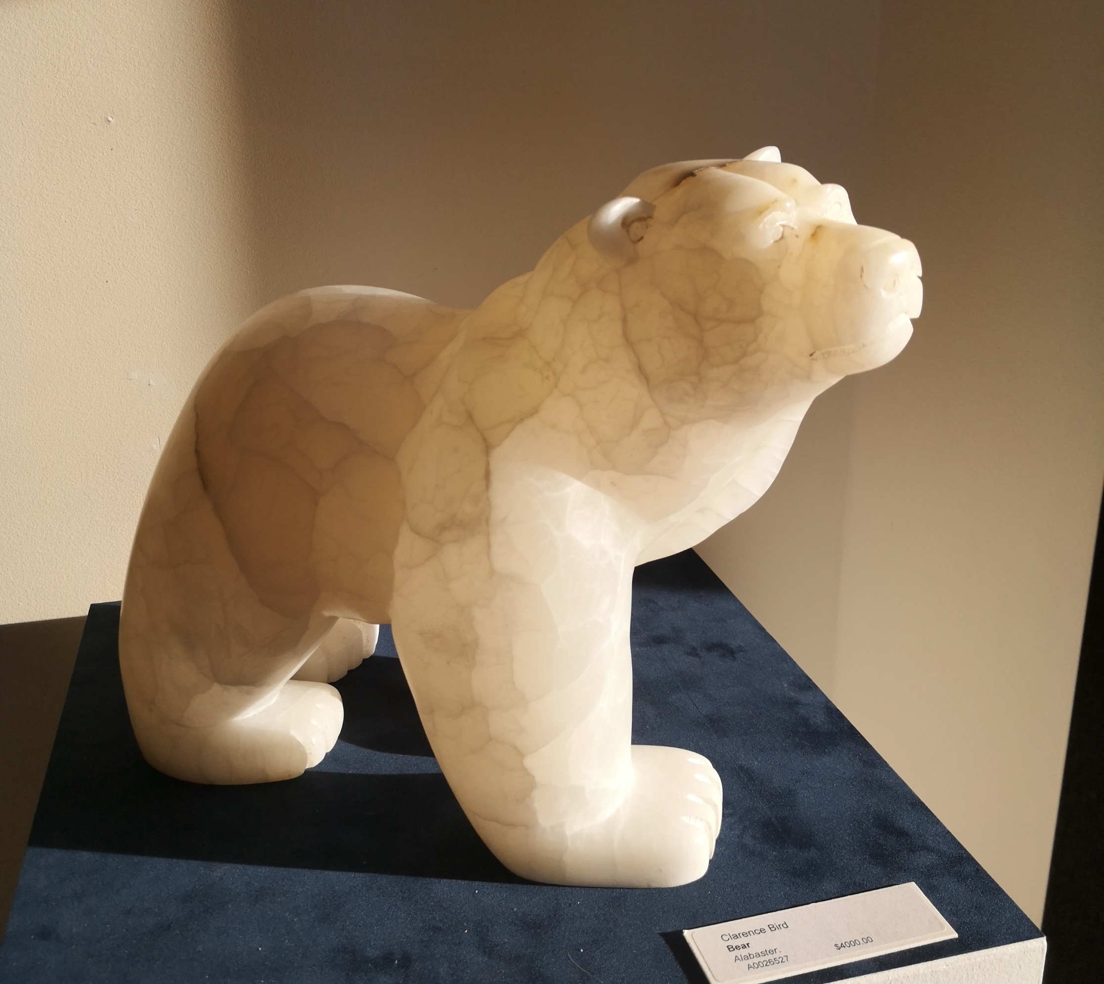 "Clarence Keith Bird, ""Mature Bear"", alabaster in sunlight, $3,000.00"