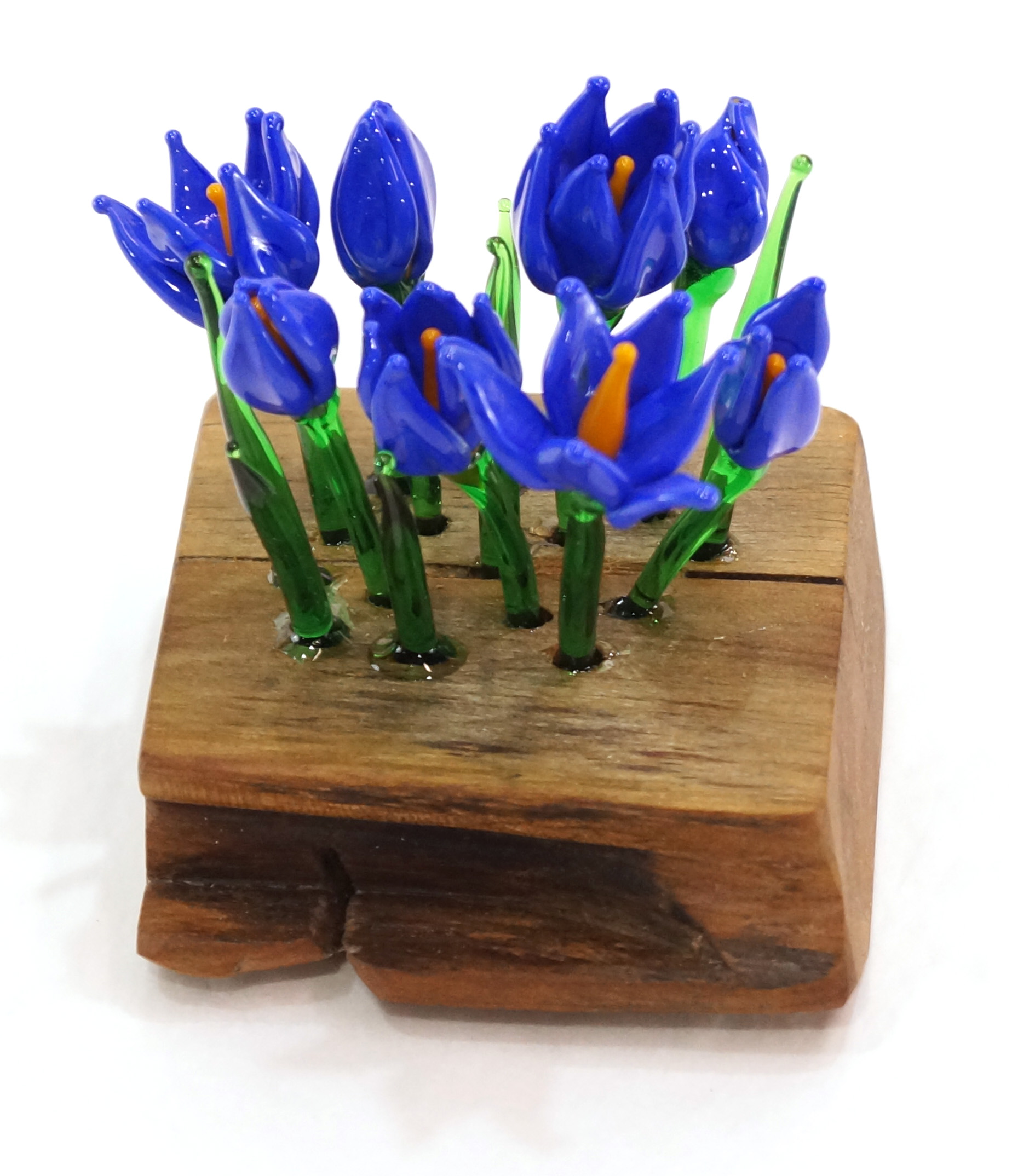 "Erin Pell, ""Signs of Spring 2"", glass and wood, 3.5""x3""x 3"", 2019 , $140"