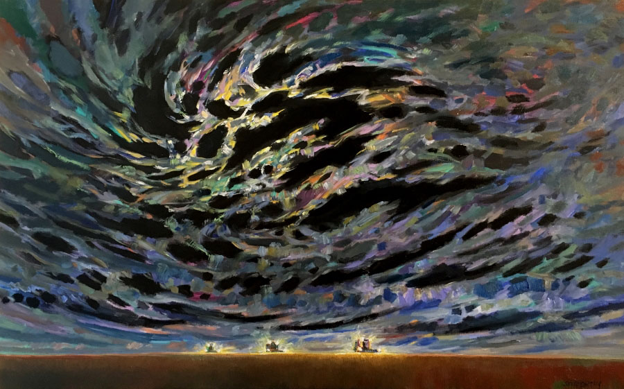"Steve Coffey, ""Lunar Harvest"", oil on canvas, 30 x 48 inches, CAD$4,210 Framed"