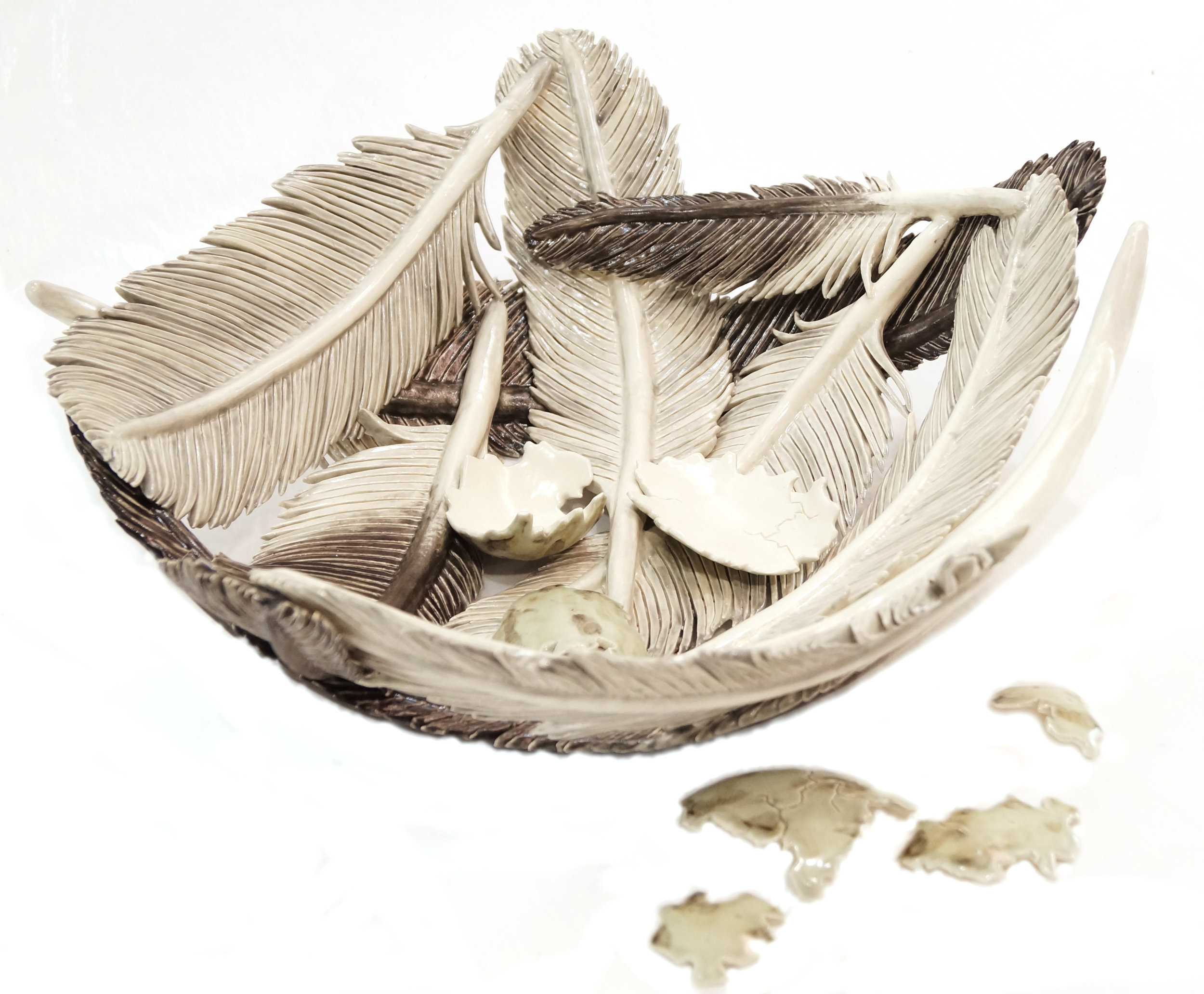 "Nicole Little, ""Whooping Crane Feather Bowl"", ceramic, $350"