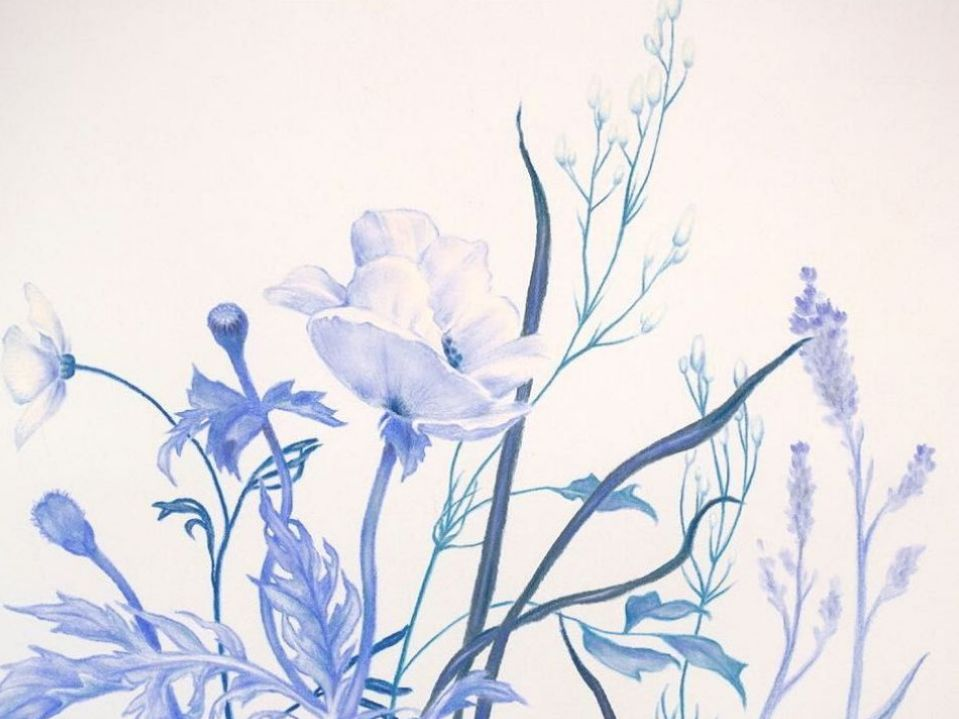 "Zachari Logan ,  Ditch Flowers (Blue)  detail, pastel on blue paper, 30 x 22 "", 2019"