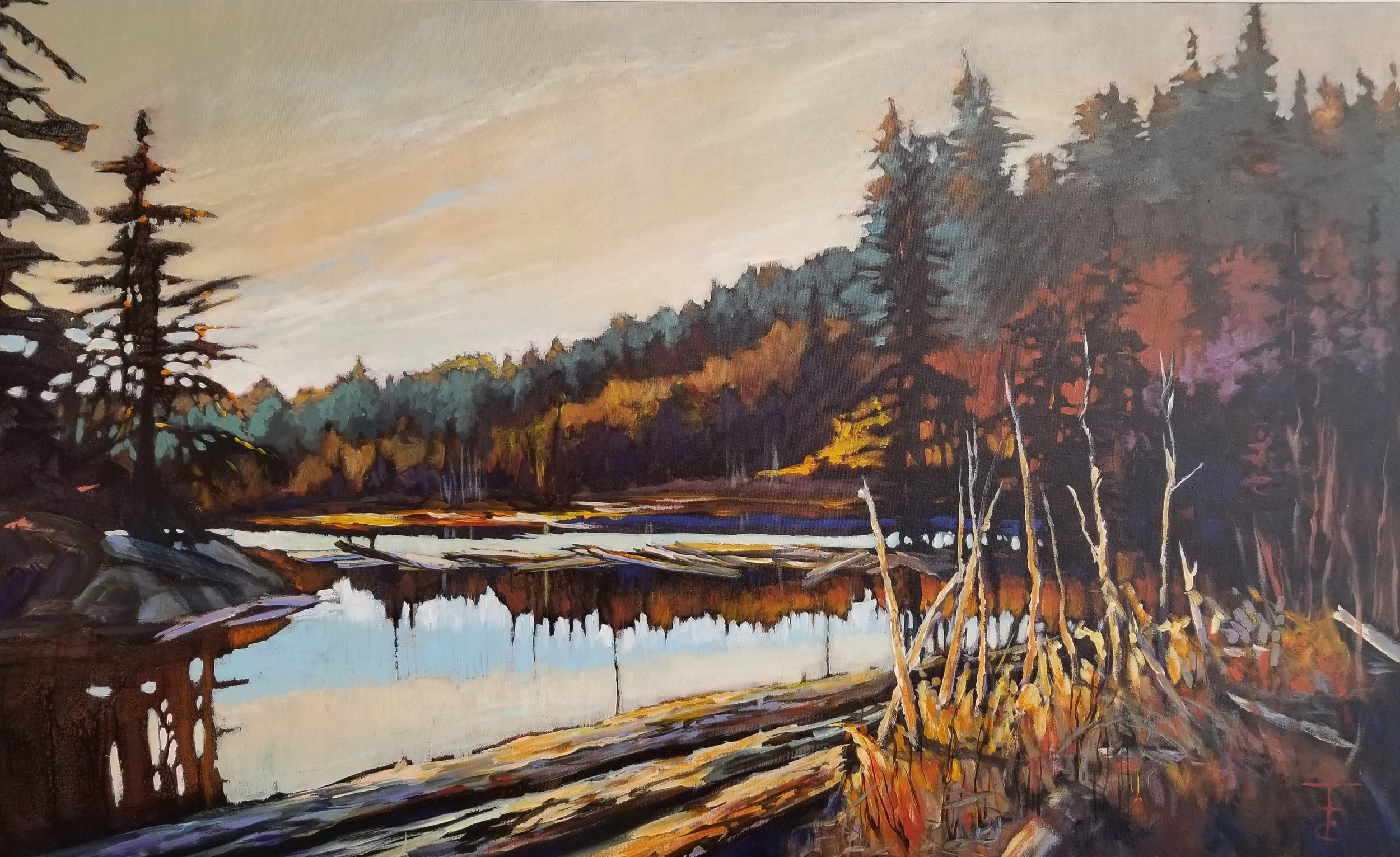 """Log Jam"" Master, Cheryl Tuck-Tallon, 48 X 72, Acrylic on Canvas"