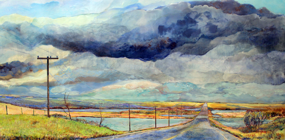 "Heather M. Cline, ""Dashcam Ahead of the Storm"", 2019, Acrylic on panel, 24"" x 48"", $2,375.00 Unframed CDN (+ taxes)"