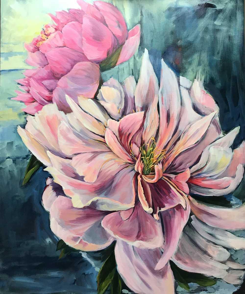 "Diane Larouche-Ellard, Peonies, 30x36"" acrylic on canvas, $980"
