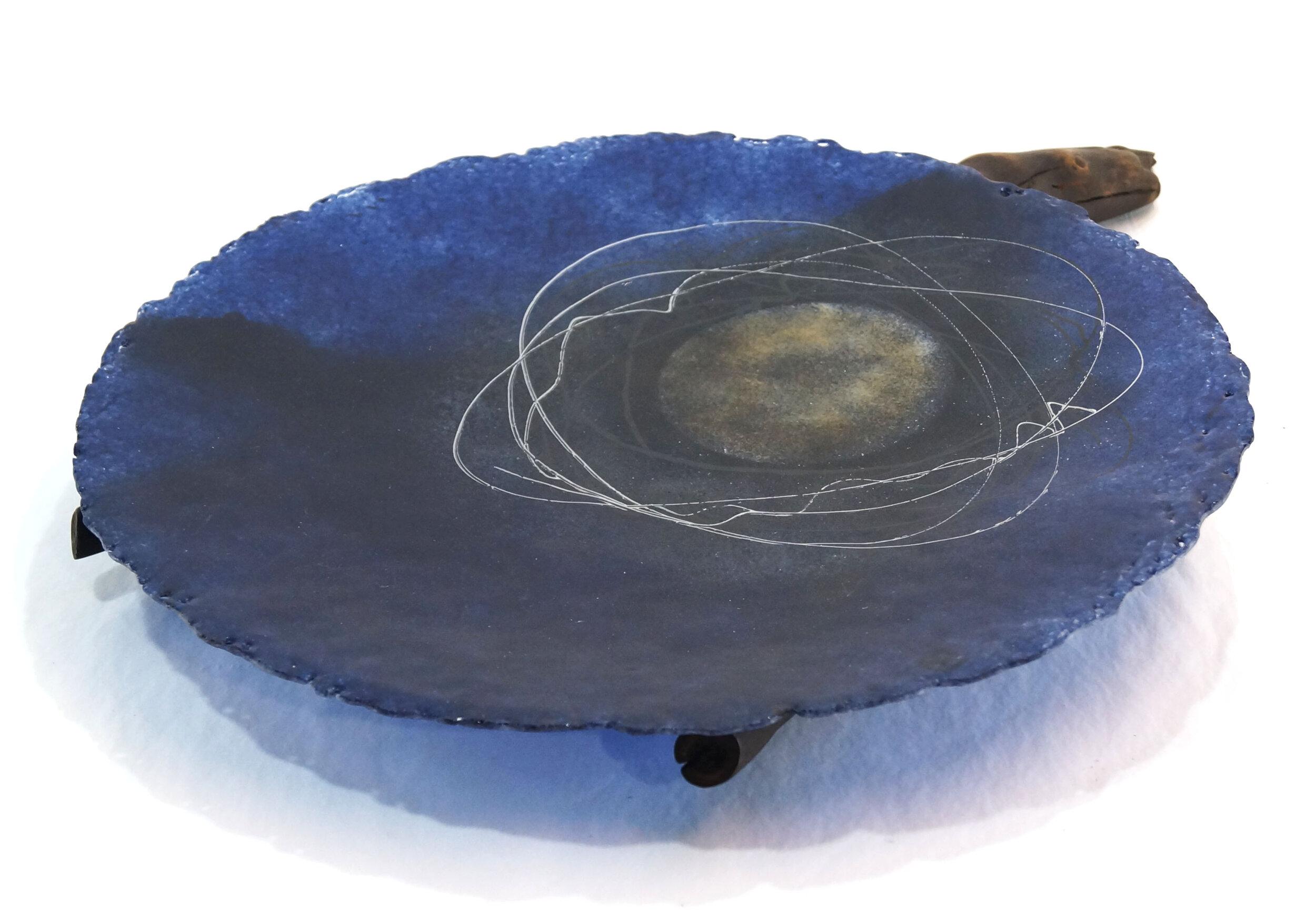 Moon Cradle 2 – pate de verre, scorched wood, 14''w x 4''h (35cm x 10cm), $300