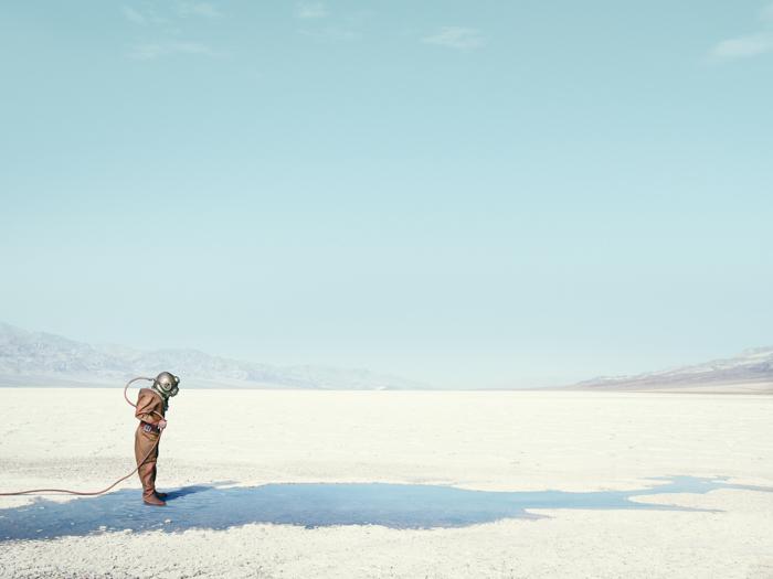 Diver In The Desert
