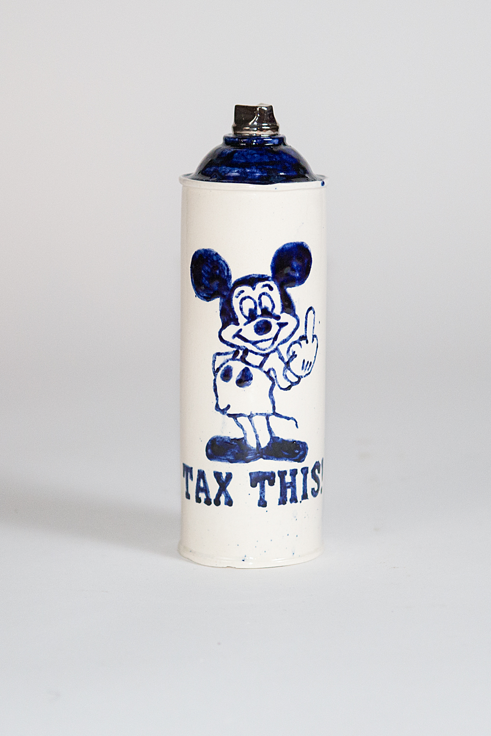 "Jesse Edwards  Untitled Spray Can   IX  (2018) Ceramic, delft blue, over and under glaze 2.75"" x 2.75"" x 9""  INQUIRE"