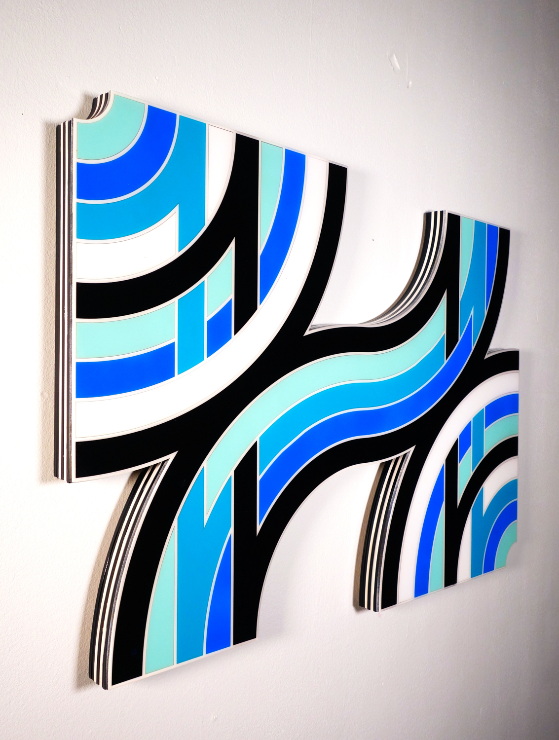 """Tavar Zawacki  SMOOTH SAILING - SEATTLE  (2018) Laser cut wood panels, acrylic paint, wood nails, Industrial UV protected resin 31.5"""" x 23"""" x 1.5""""  INQUIRE"""