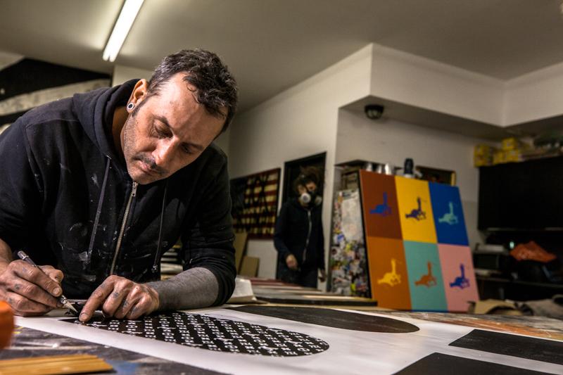 Enjoy Denial in studio preparing for his exhibition 'Shelf Medication' Jan 2019