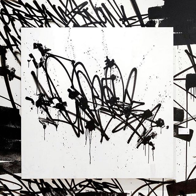 """Crack the Concrete, Spray paint on canvas 48"""" x 48"""" by @biscosmith"""