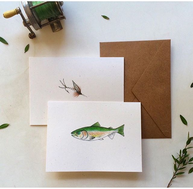 Custom Fish + Fly Notecards