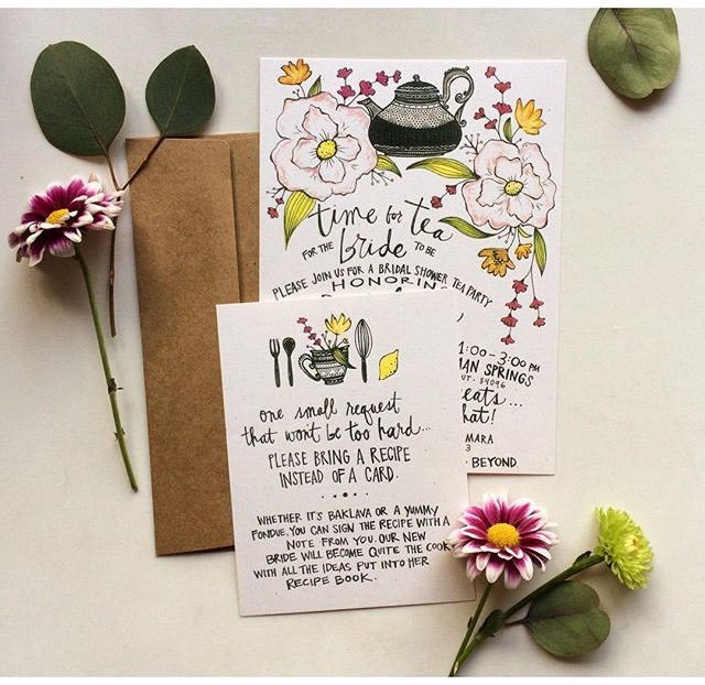 Custom Tea Party Bridal Shower Invites
