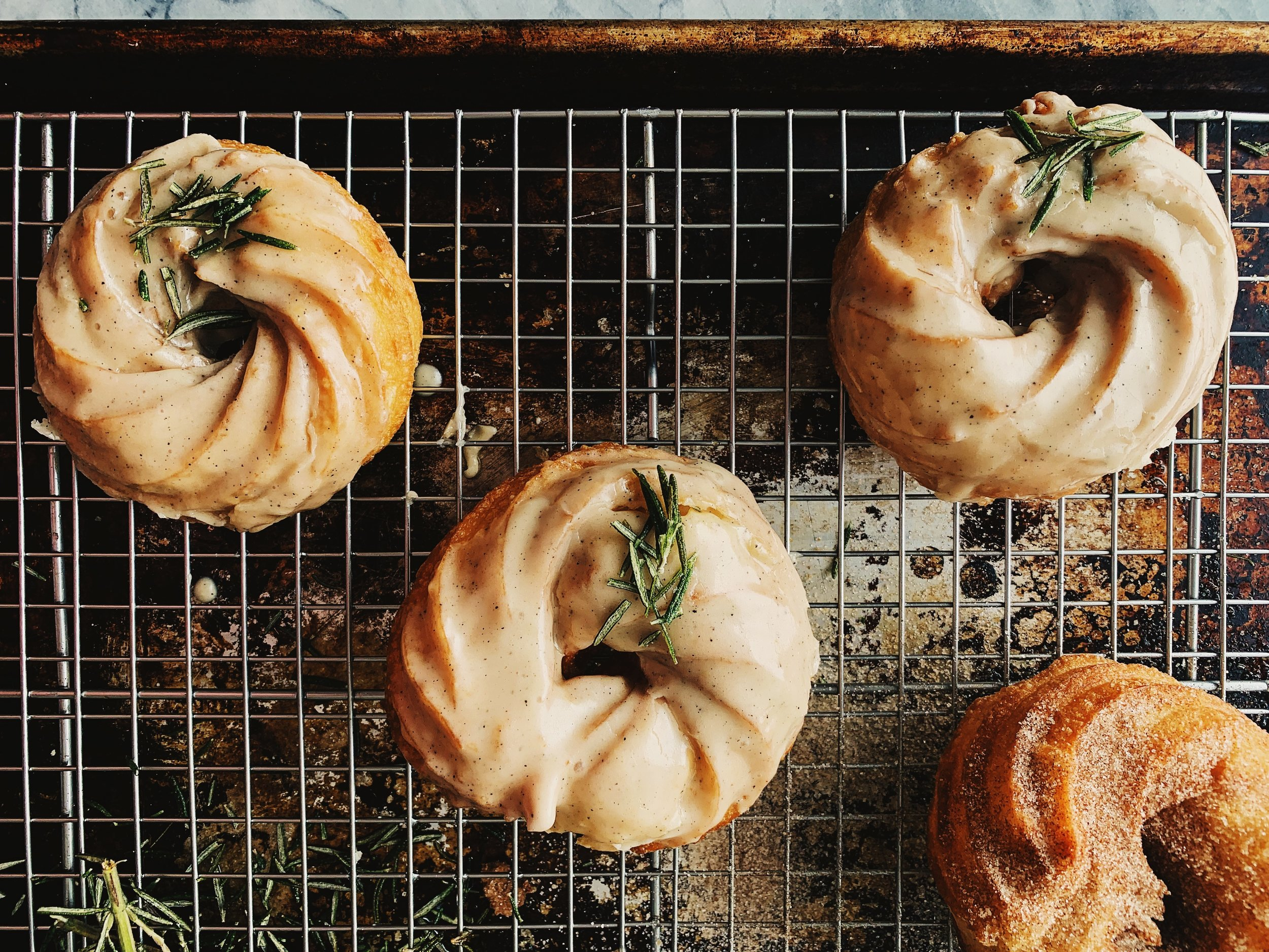 I dipped mine in a brown butter and rosemary glaze!