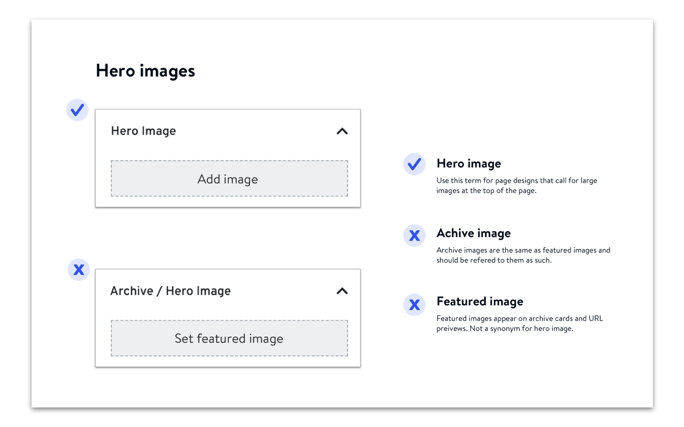 Our team used a plethora of terms to describe hero images on site back-ends so we added visual and written instructions on correct and incorrect terminology to our agency style guide.