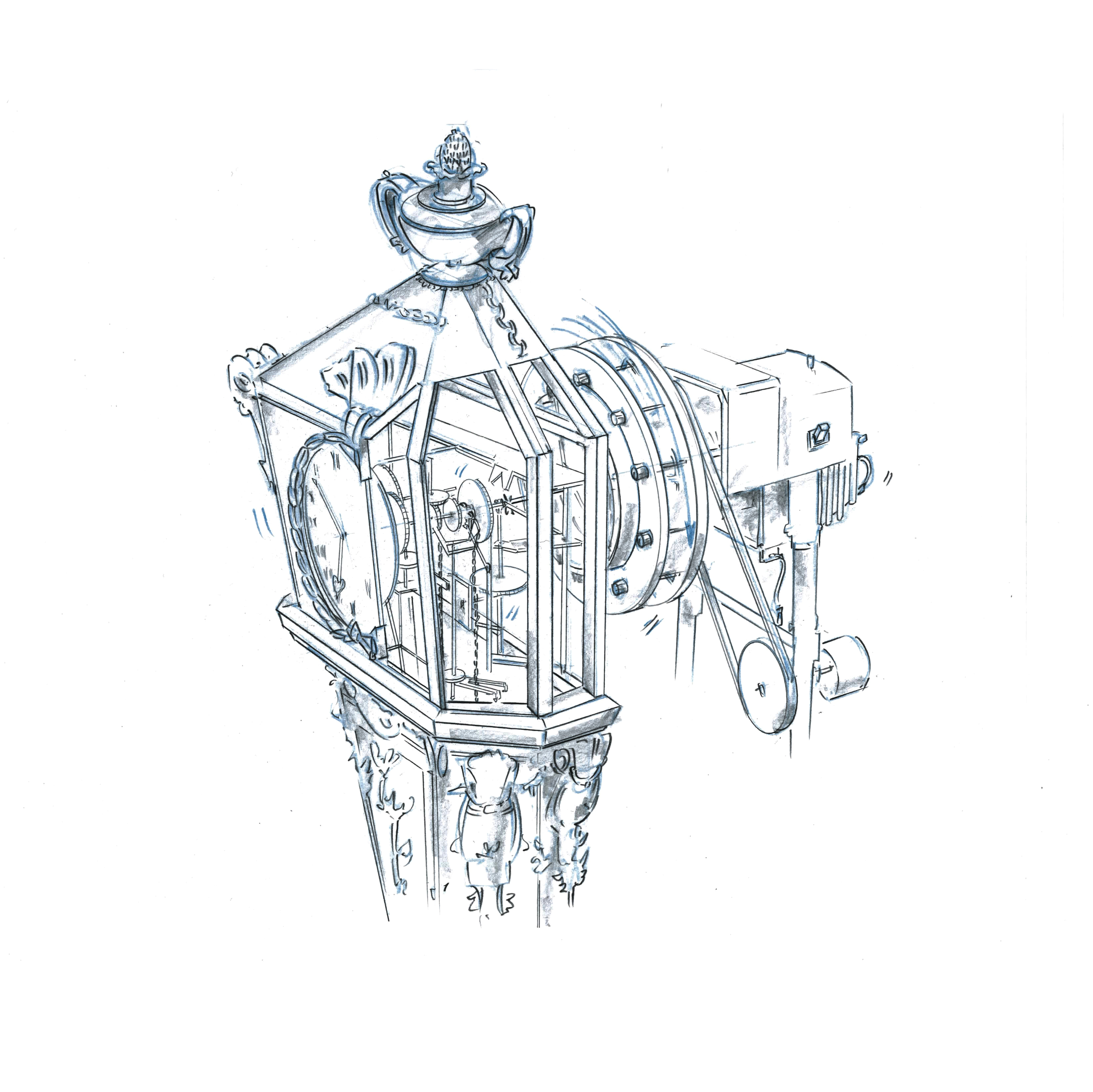 The pairing of incongruous elements  can add a playful twist to a client communication. This drawing was one of various concepts developed for a Cadillac luxury line.