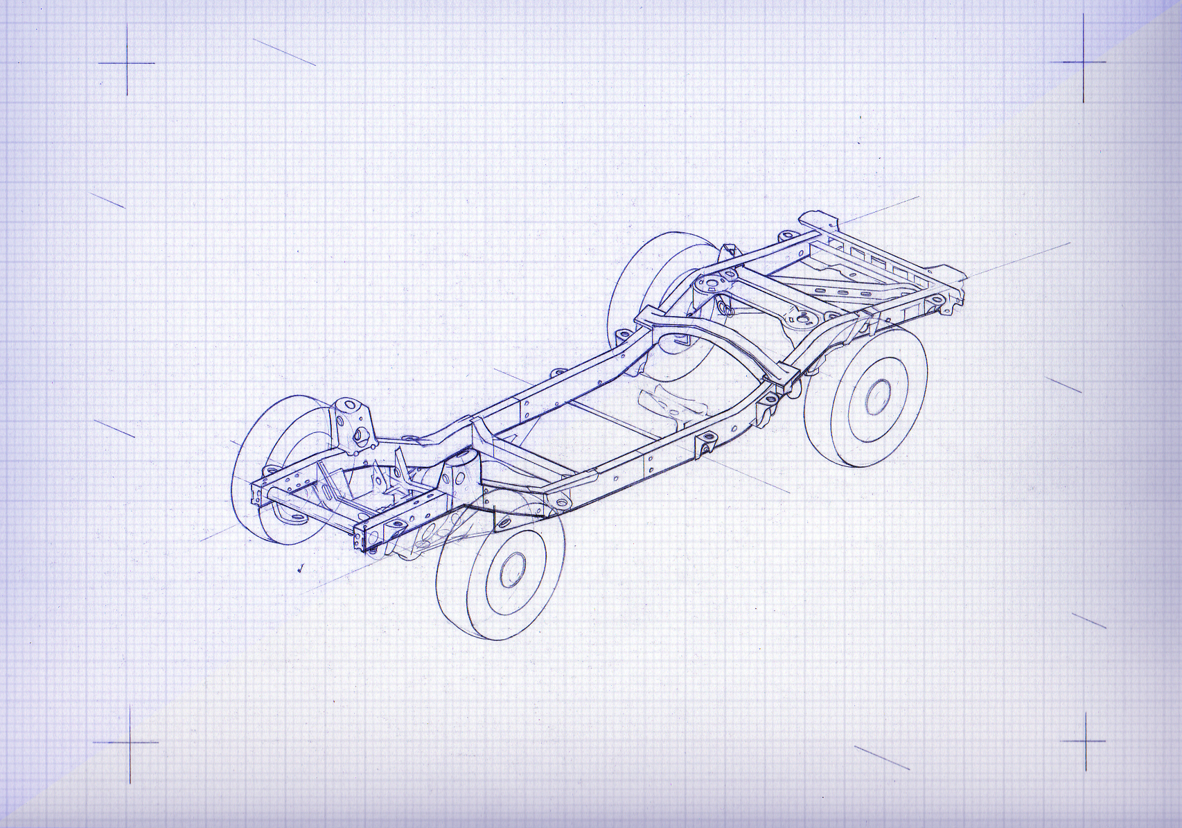 Isometric  drawing of a chassis.