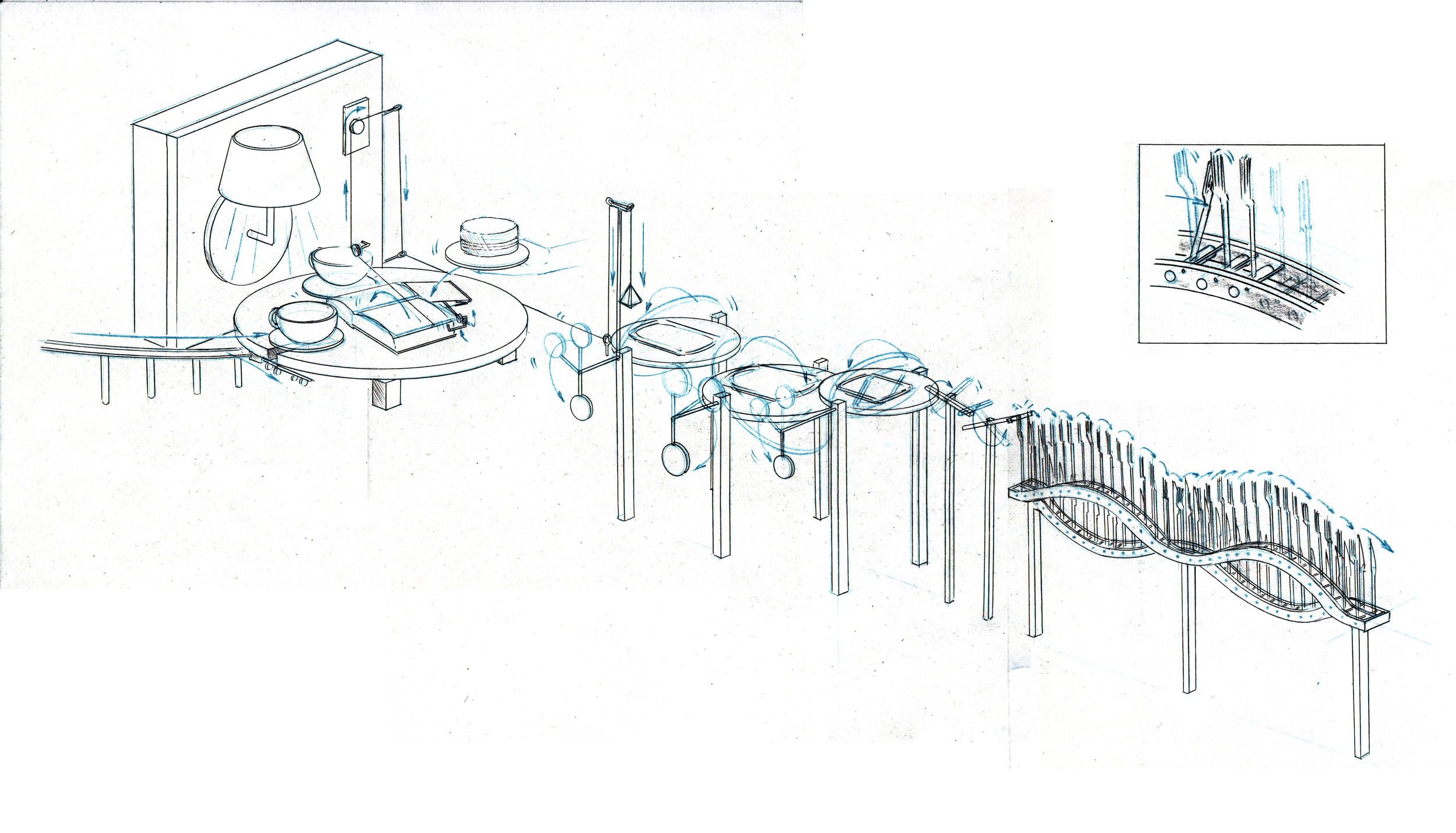 Schematics can aid in  the element-by-element exploration of larger designs. This drawing represents a sequence within a crazy complex Rube-Goldberg.
