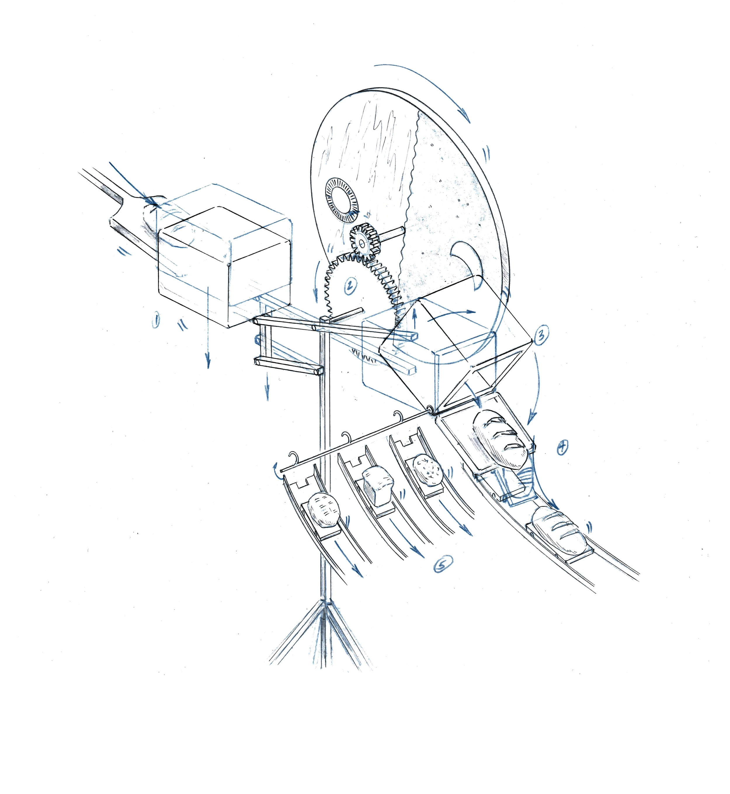 Even once construction  on a set gets underway, drawings can still help the team troubleshoot difficult areas.