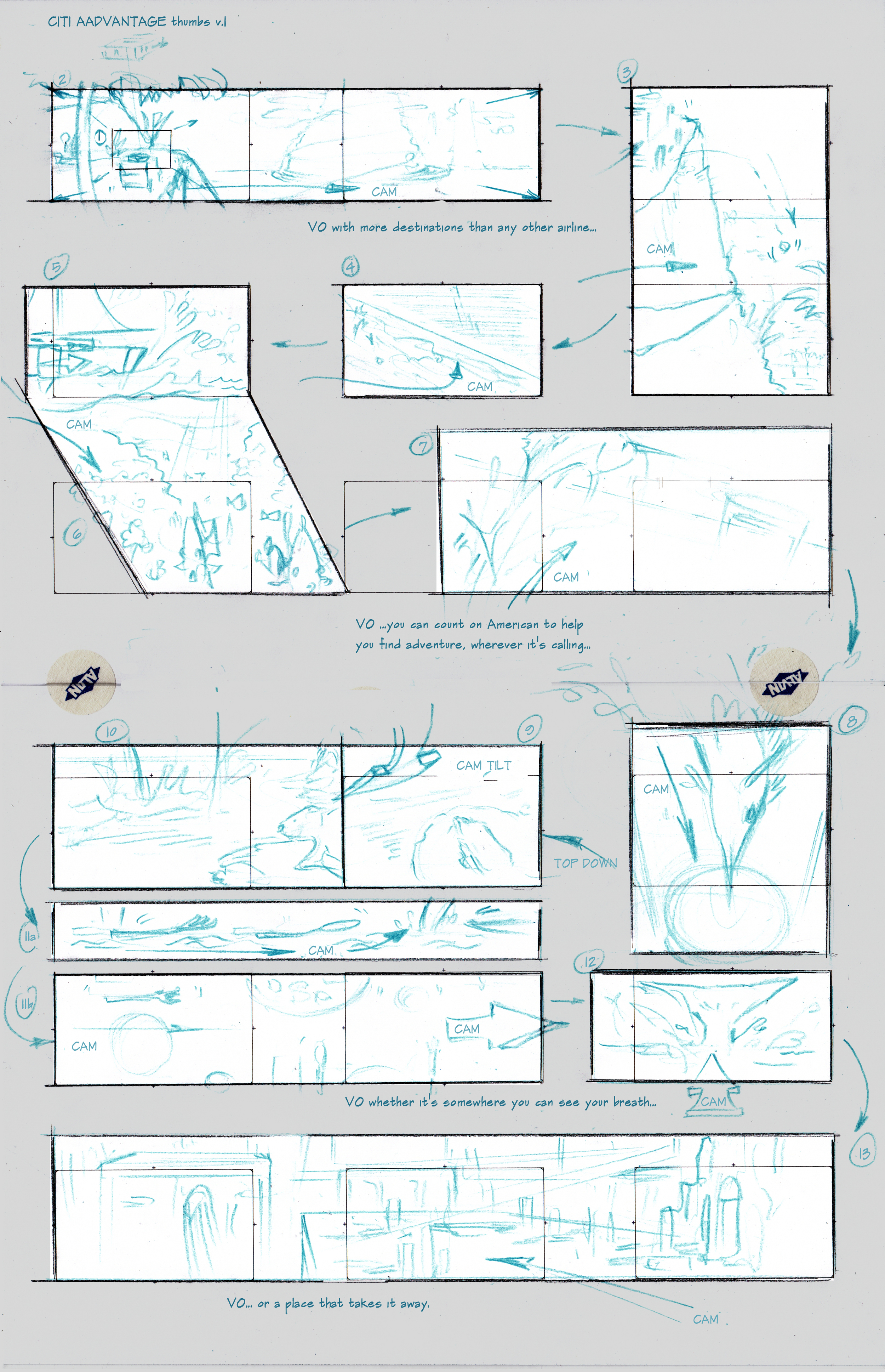 Thumbnails  are quick, small sketches that can later be developed into full storyboards.