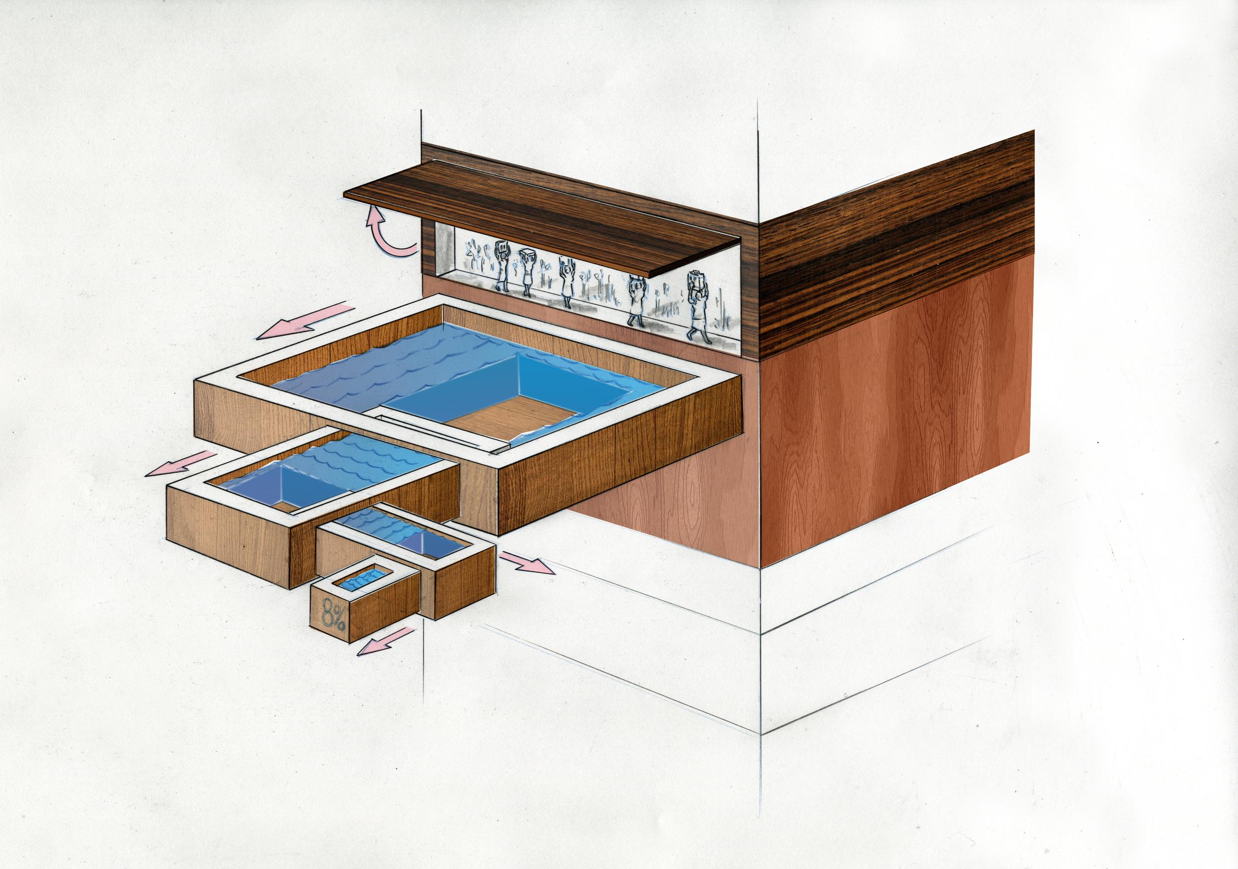 Dimetric color  concept for a PSA about water consumption for director Gabe Askew.