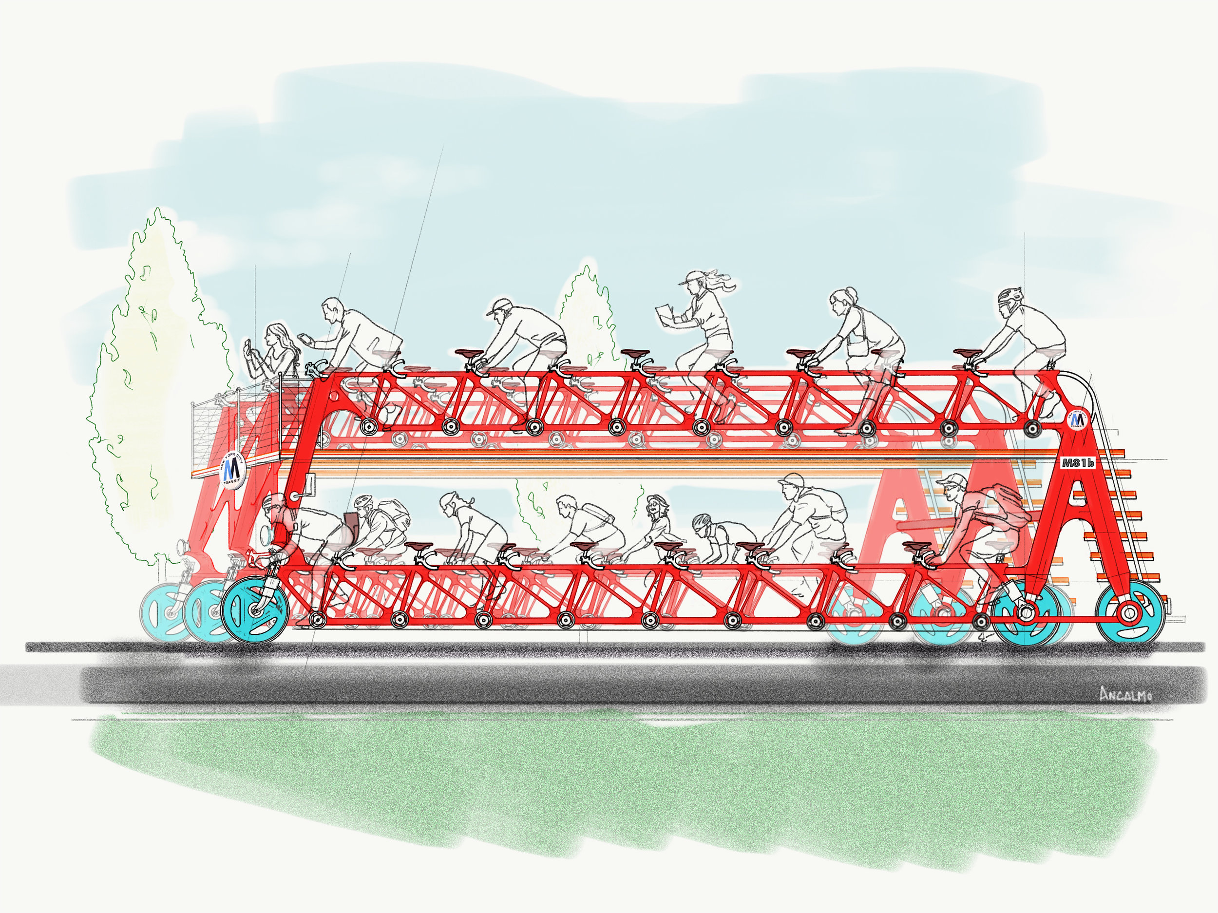 Bus-cycle concept  morning commute!
