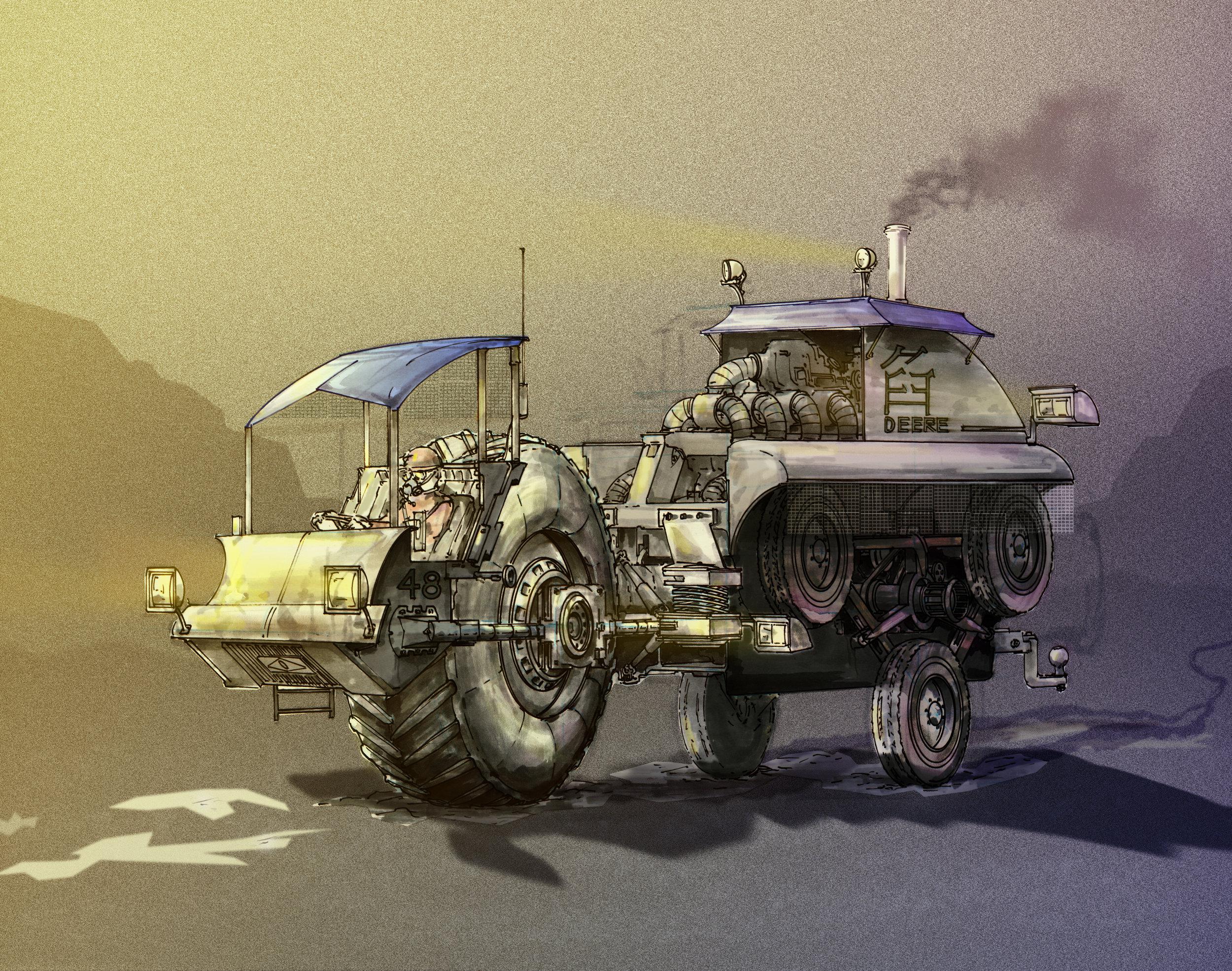 Concept  illustrating a retro-future tractor.