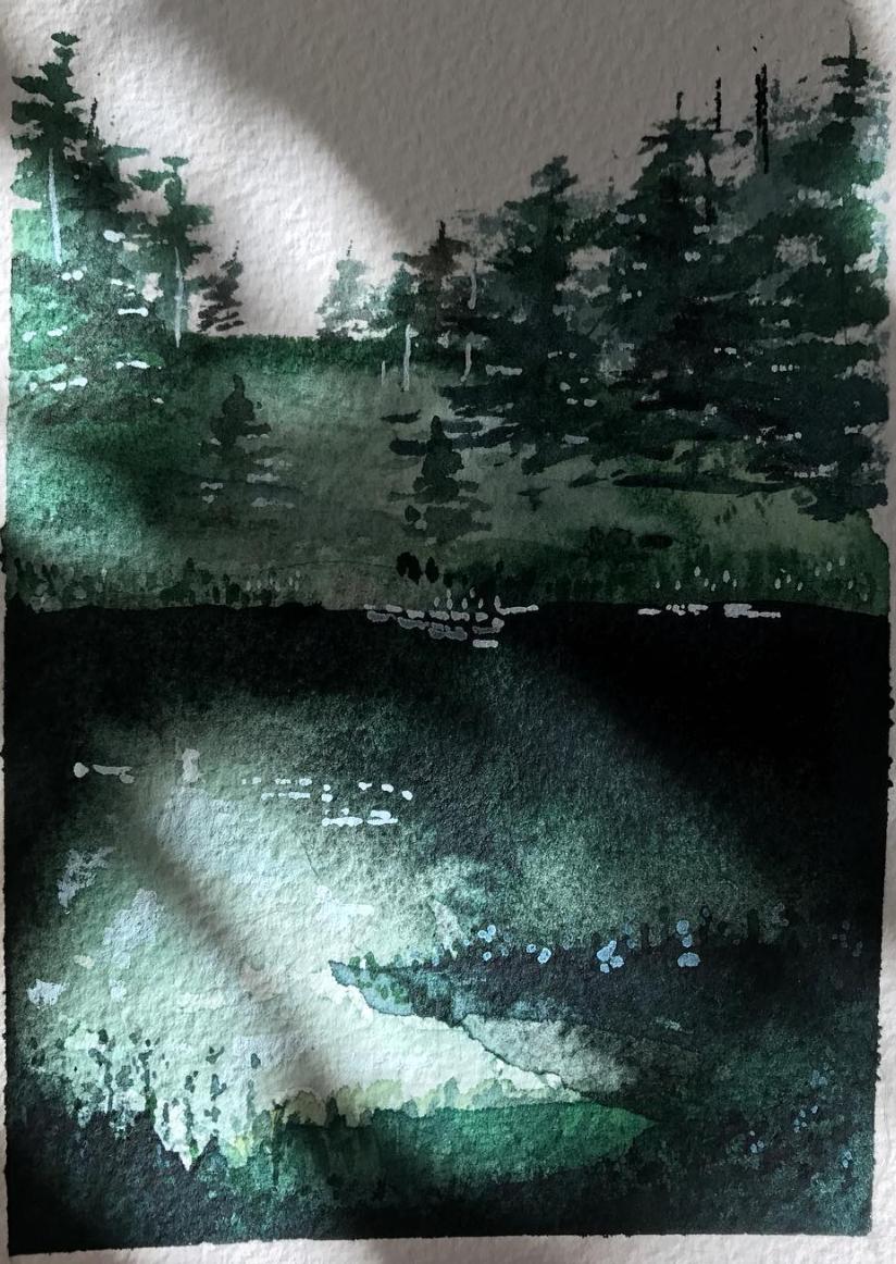 """shadowy landscape - 4x6"""" watercolor original - in shadow"""