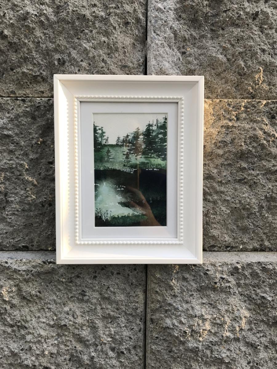 "shadowy landscape - 4x6"" watercolor original - in the sun"