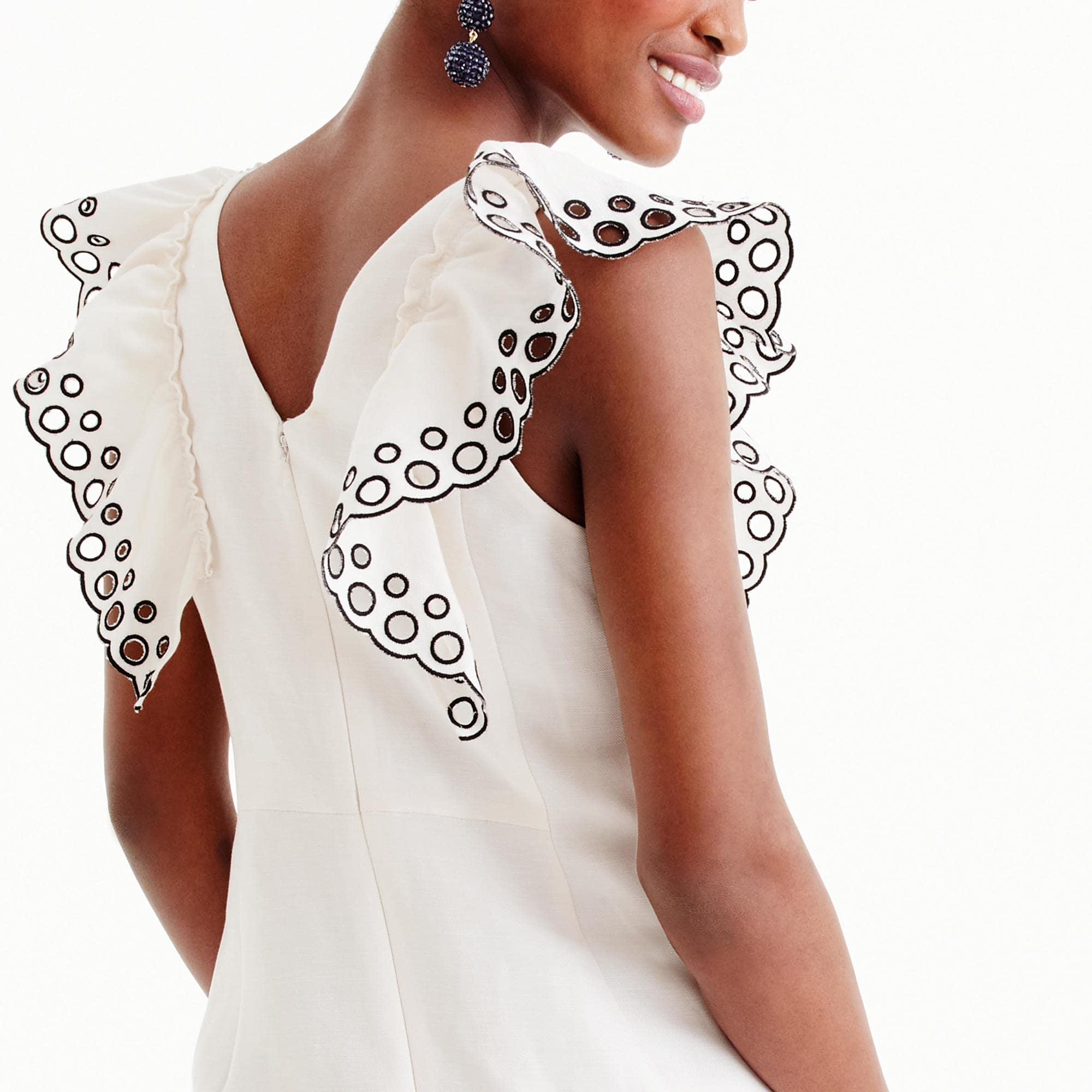 jcrew - ruffle shoulder sheath dress