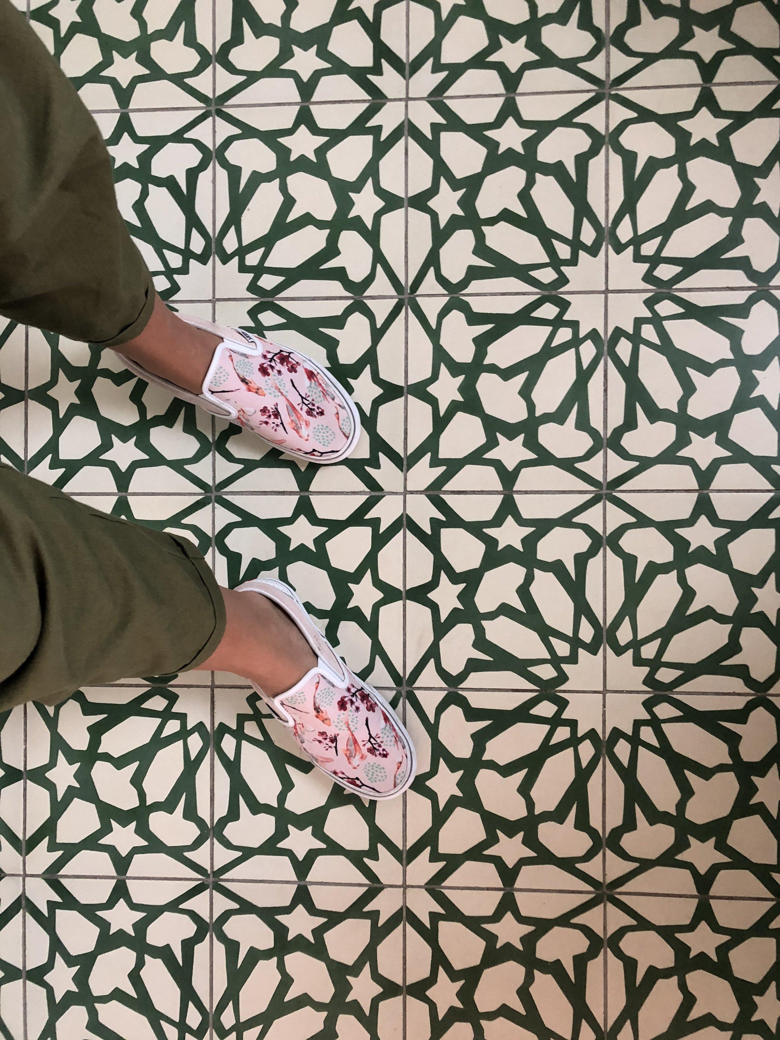 the room's bathroom tile
