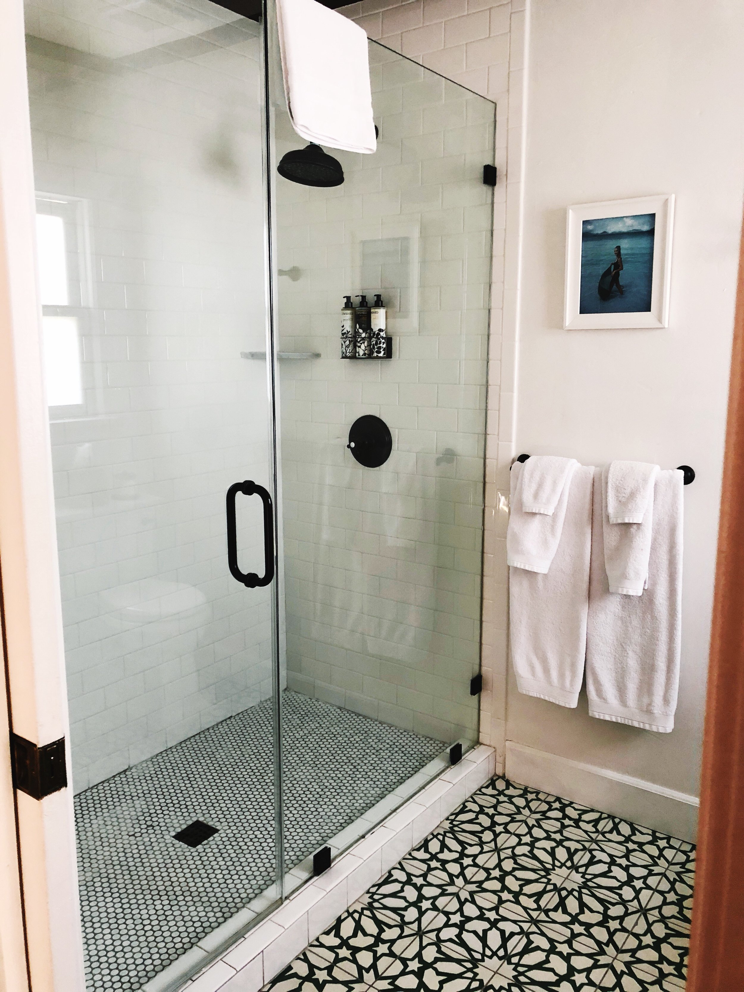 the bathroom's beautiful standing shower