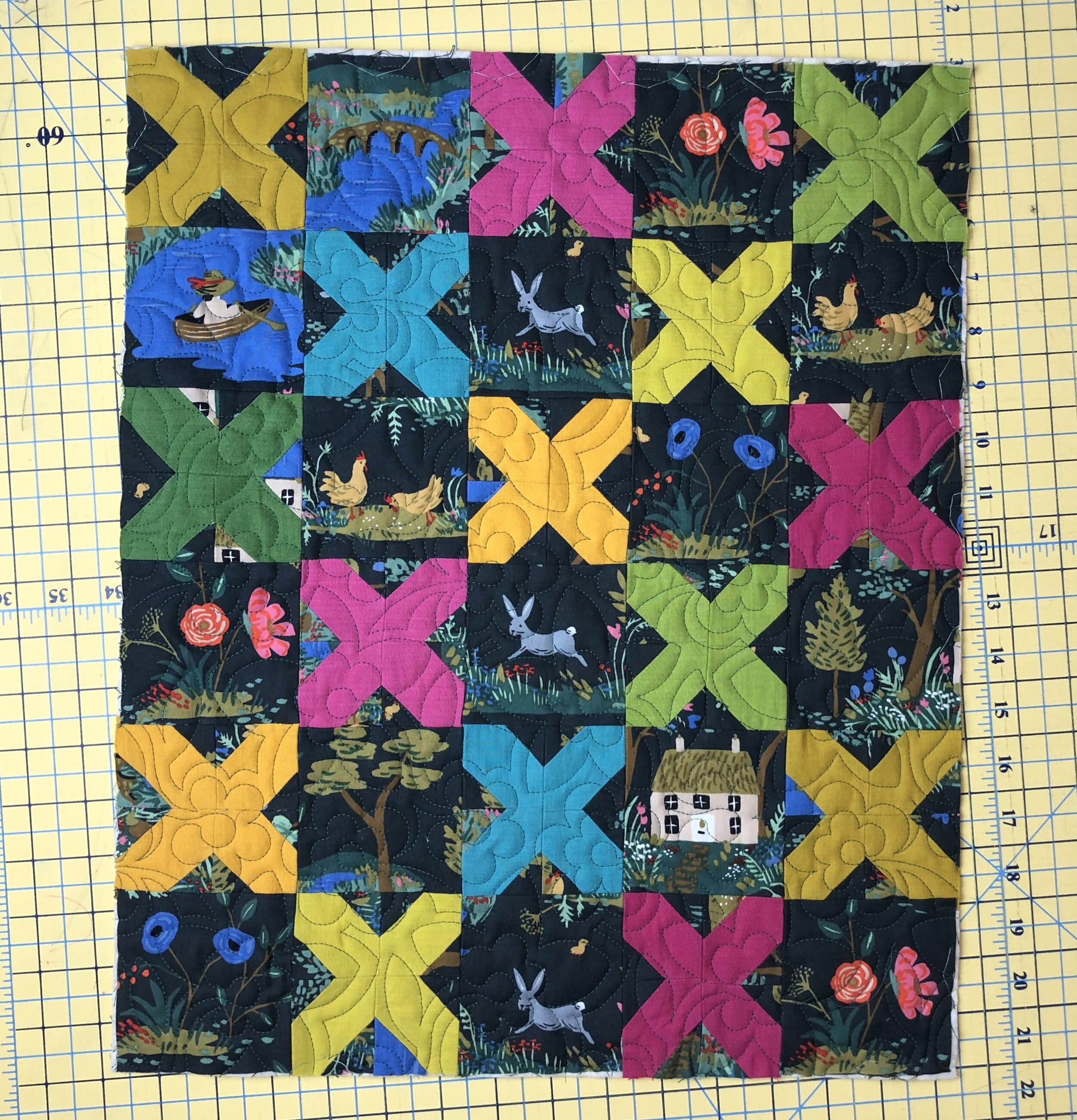 - 1. Make your mini quilt top. Quilt it but don't bind yet