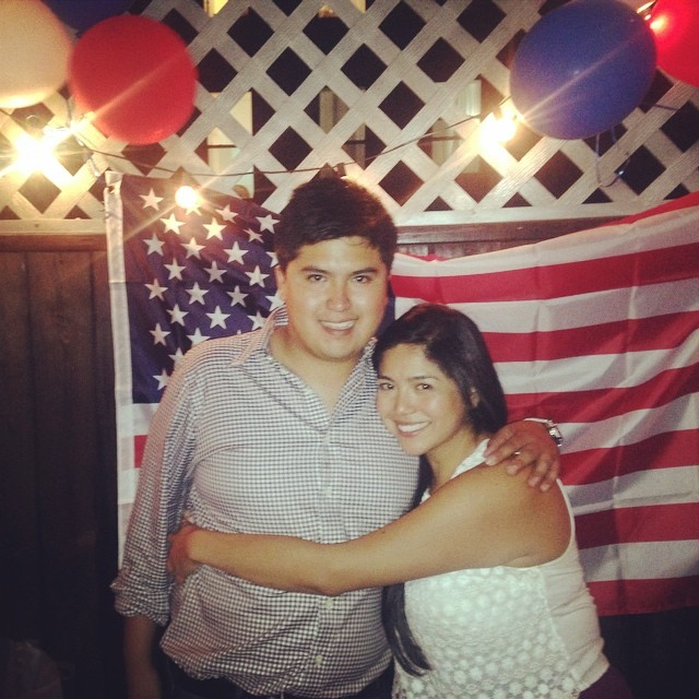 My brother and I celebrating my American Citizenship.