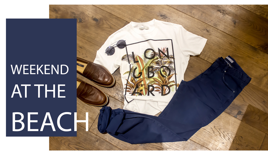 Camisa blanca, Pantalón azul , Mocasines color café & Gafas de Sol  H.E. by MANGO
