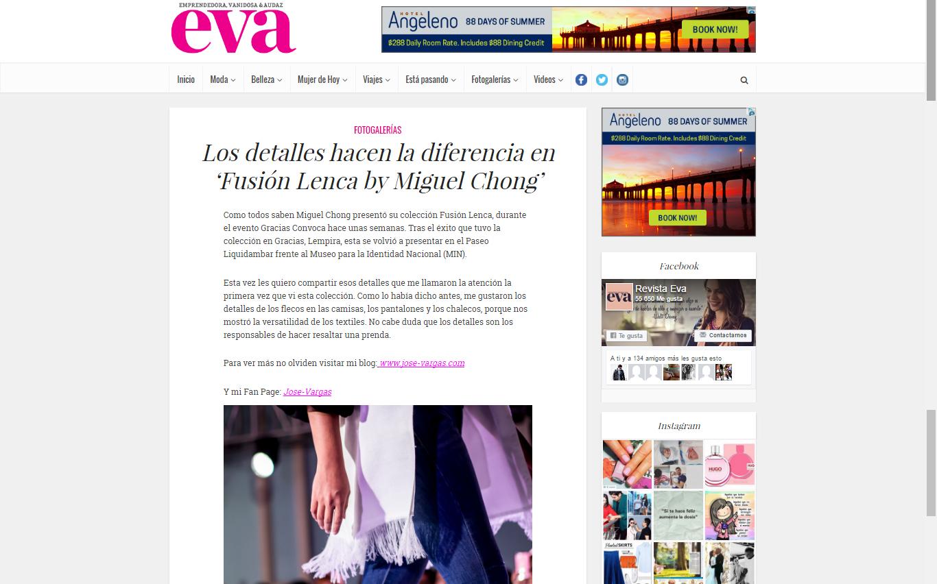 Articulo para Eva.hn sobre la pasarela de Miguel Chong
