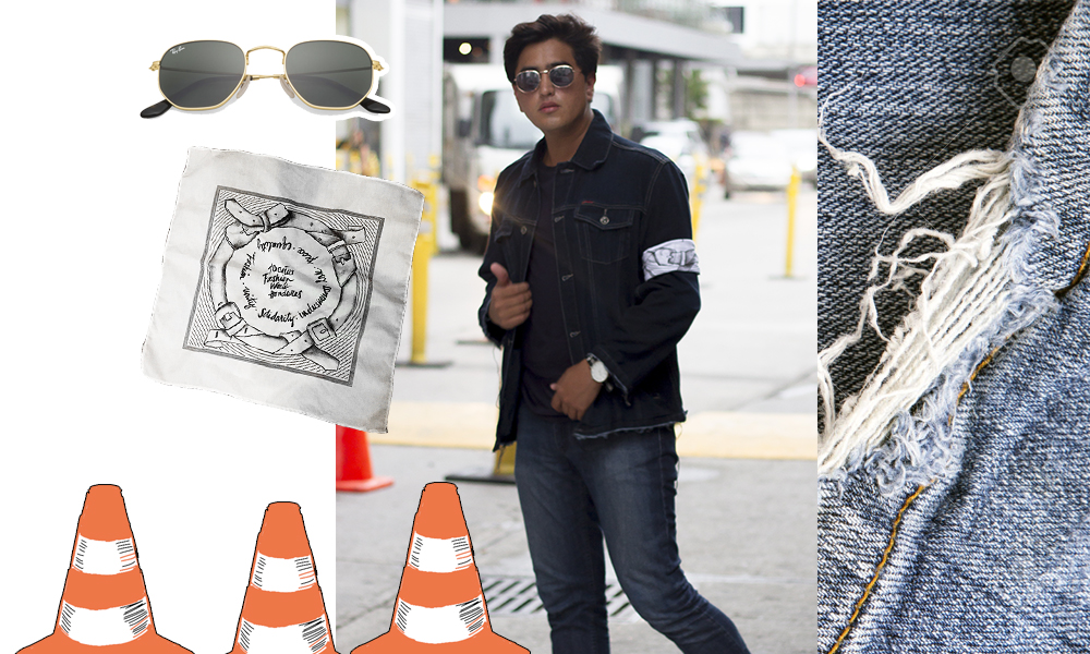 Chaqueta  Levis , Camiseta  GAP , Pantalon  Pepe Revolution , Gafas de Sol  RayBan , Pañuelo  Tirso Rubio