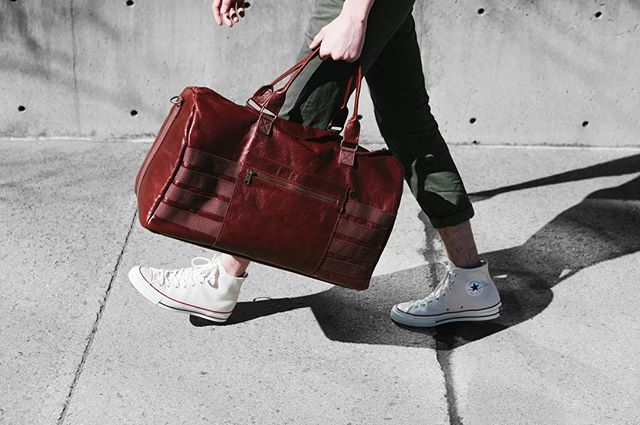 Introducing the Bordeaux Duffle. Made in California with oxblood Italian leather, antique brass hardware and YKK zippers. Now available.