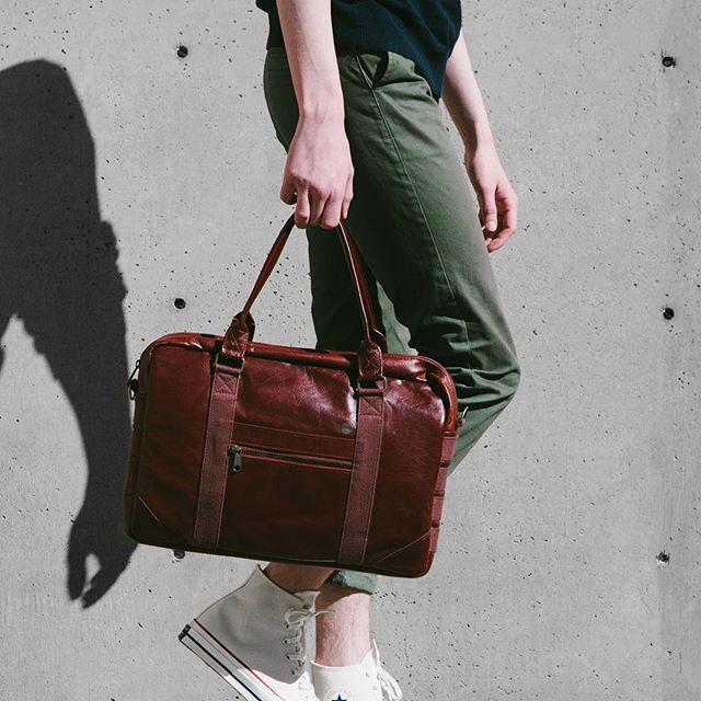 Introducing the Bordeaux Briefcase. Made in California with oxblood Italian leather, antique brass hardware and YKK zippers. Now available. #withage