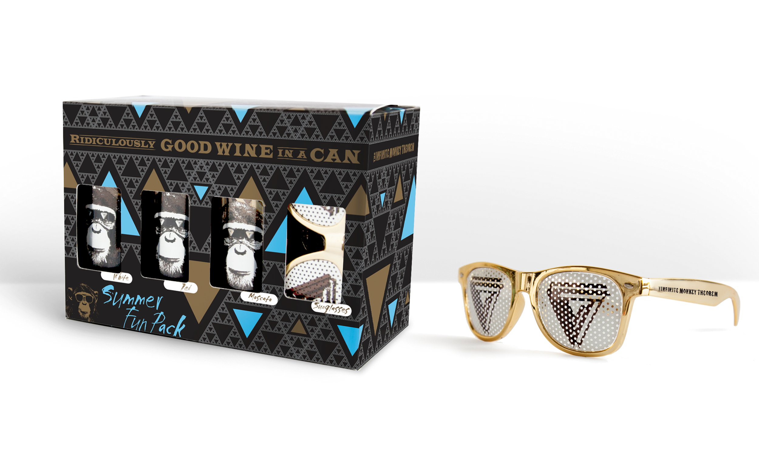 Modern package design for Infinite Monkey Theorem's 6-pack box of wine.